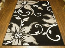Modern Approx 6x4 115x165cm Woven Lily Design Rugs Sale Top Quality Black/Grey